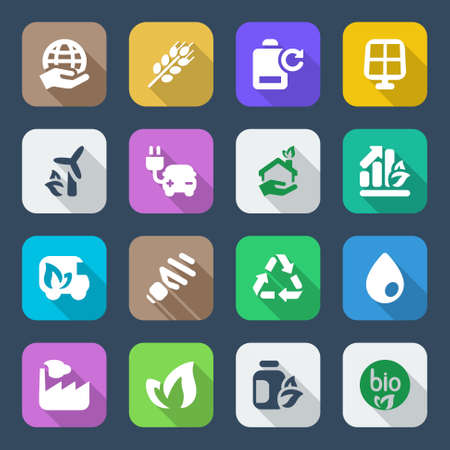 natural gas: set of icons for ecology and environmental industry   services colorful