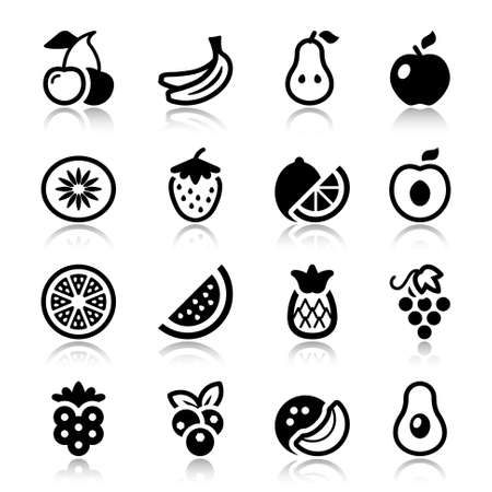 flat fruits icons set. isolated. black color with reflex