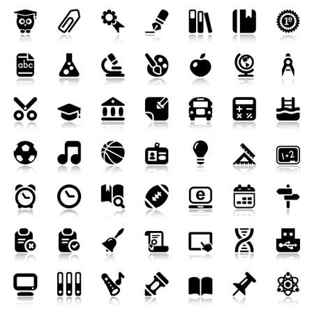 set of education and school flat icons, black color with reflex Vector