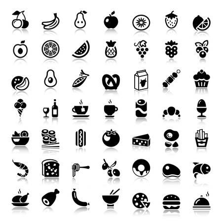 Set di icone di cibo, bevande, frutta e verdura piatte per ristorante o commerciale. colore nero con riflesso Vettoriali