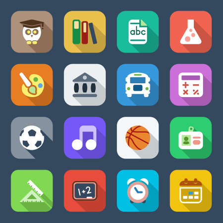 set 1 of education and school flat icons, colorful