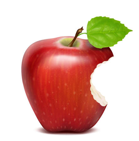red apple icon isolated, with leaf and bitten Vectores