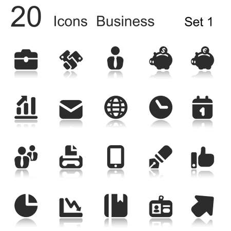economy: icons set for office and business