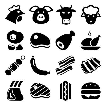 meat black icon set isolated, for restaurant and commerce Illusztráció