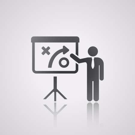 reflexe: icone plat r�flexe. de la strat�gie et des affaires