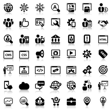 black icon set isolated for business seo Illusztráció