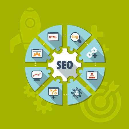 flat infographic about Search Engine Optimization process Vector