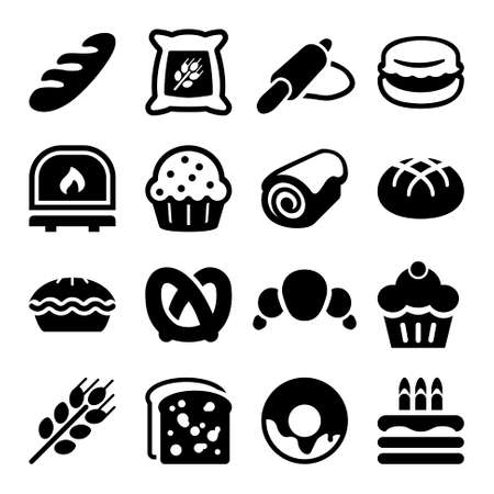 flat icon set for bakery, isolated, black color Vettoriali