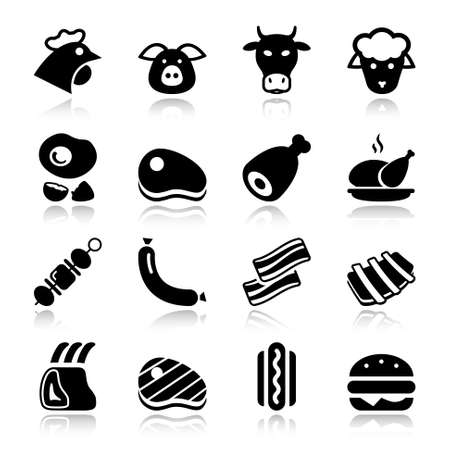 veal sausage: meat black icon set isolated, for restaurant and commerce Illustration