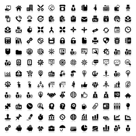 set of flat icons for business and office. black and reflex Иллюстрация