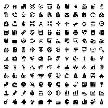 set van platte pictogrammen voor bedrijfs- en kantoor. black en reflex Stock Illustratie