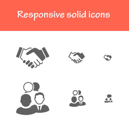 handshake icon: responsive solid icons isolated flat black color for web tablet  mobile business