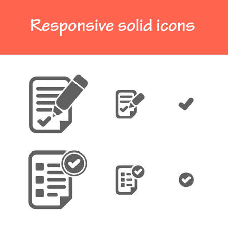 responsive solid icons isolated flat black color for web tablet  mobile business