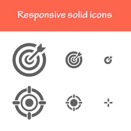 challenge: responsive solid icons isolated flat black color.