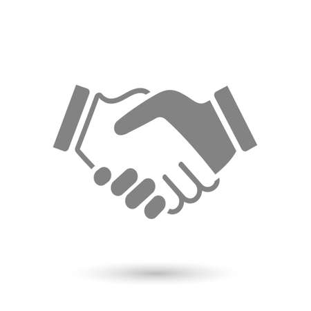 round icons: gray icon handshake. background for business and finance