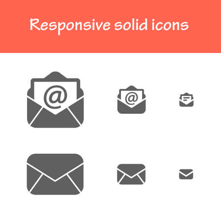postmail: responsive solid post-mail icons. for computer, tablet & mobile interface Illustration