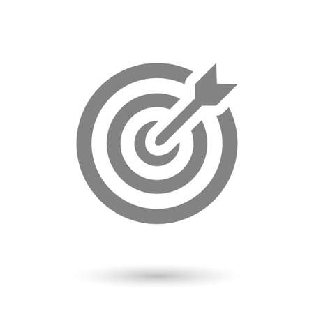 flat goal-dartboard icon. solid with shadow Illustration