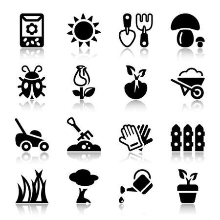 plague: black icons set for gardening & agriculture, isolated Illustration