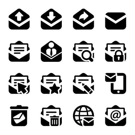 icons set isolated mail. for web and business in black Çizim