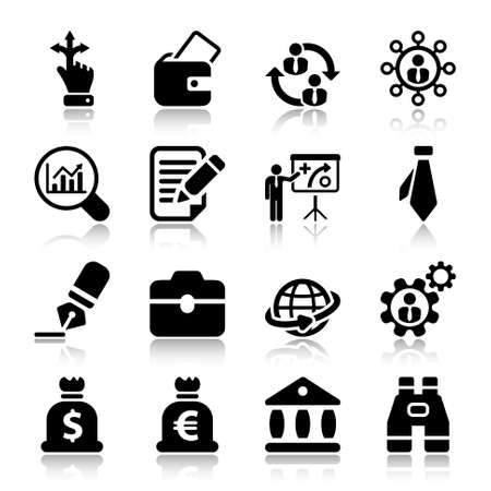 human resources strategy: icon set in black for business  human resources.flat