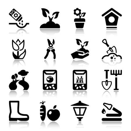 black icons set for gardening & agriculture, isolated Illusztráció