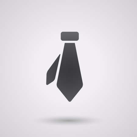 black tie: icon flat necktie, isolated, shaded, black color