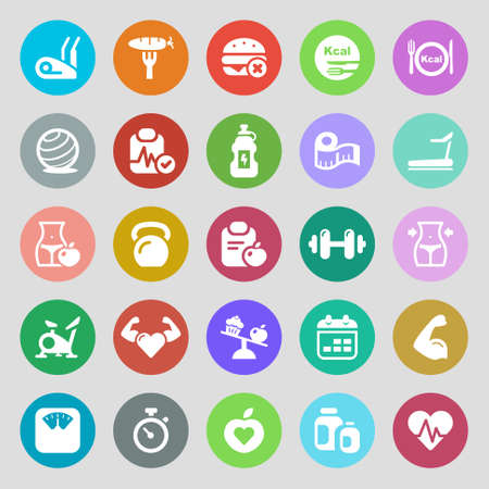 stepper: icons set for fitness and health. colorful