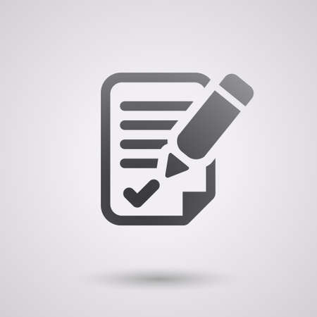 paper notes: black agreement icon with shadow. for bussines Illustration