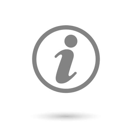 flat information icon with shadow. isolated, gray color