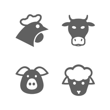 chicken: meat gray icon set isolated, for restaurant and commerce