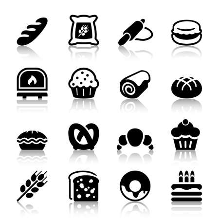 flat bakery icons set isolated black color with reflex