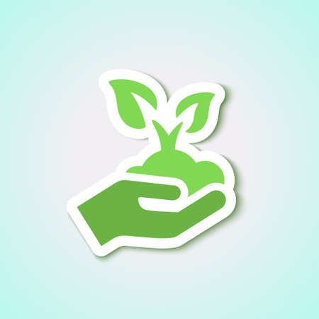 seedling icon with leaves and hand isolated in green for ecology & agriculture Illusztráció