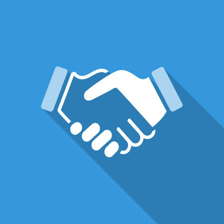 handshake: blue icon handshake. background for business and finance