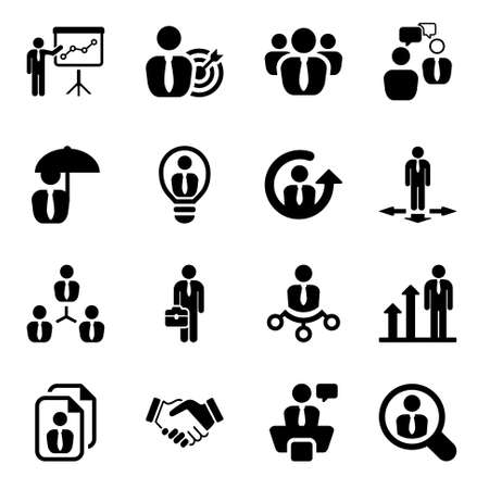icon set in black for business & human resources.flat Vettoriali