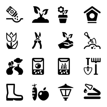 garden landscaping: black icons set for gardening & agriculture, isolated Illustration