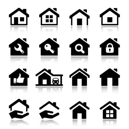 house icon set, black color, for business Vector