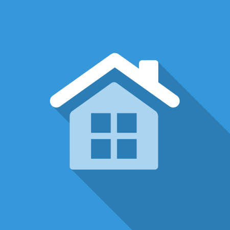 white house: blue flat icon for business with shadow