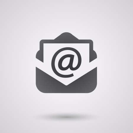 iconos: correo electrónico icono negro con la sombra. fondo tecnology