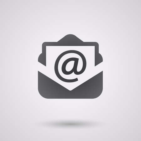 communication icons: email black icon with shadow. tecnology background Illustration
