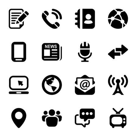 media & Communication icons set. black color