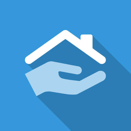 care at home: flat protect house icon with shadow. blue colors