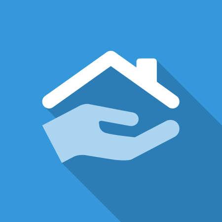 manos logo: plana icono de la casa de protecci�n con la sombra. colores azul