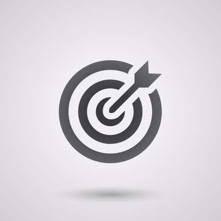 icon flat doel met dart in zwart, geïsoleerde, in de schaduw Stock Illustratie