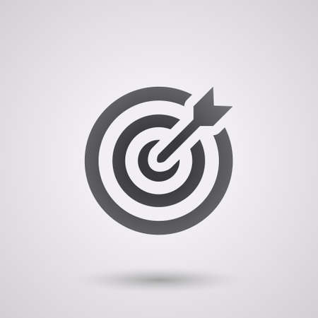 dart on target: icon flat target with dart in black, isolated, shaded Illustration