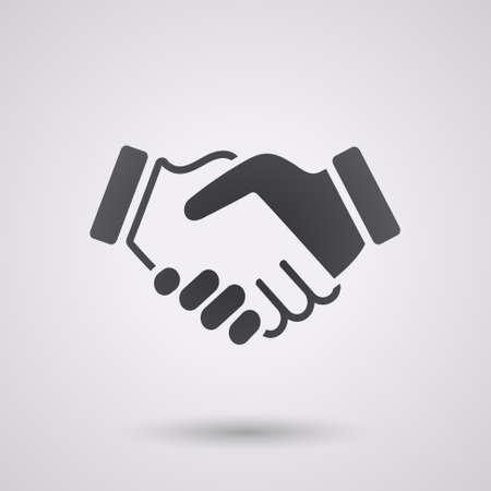 Czarna ikona uścisk dłoni. tło dla biznesu i finansów