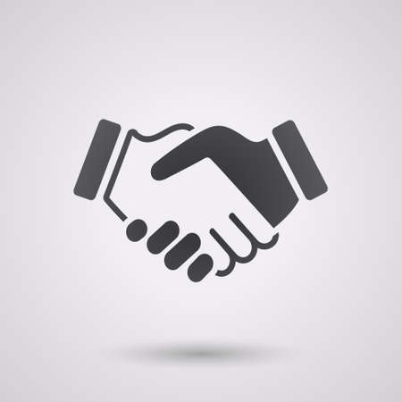 stretta mano: icona nera stretta di mano. sfondo per affari e finanza