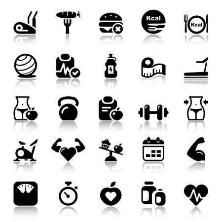 icons set for fitness and health. black color