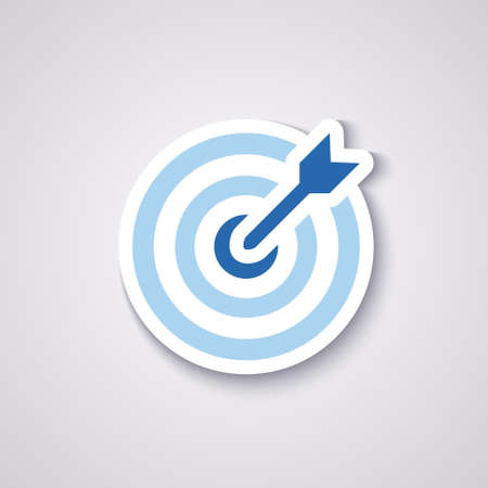 icon flat target with dart in blue, isolated, shaded