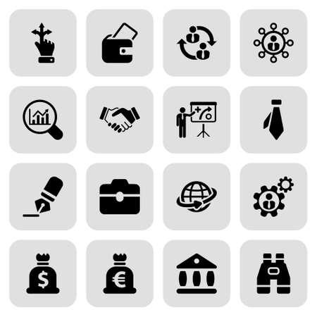 saludo de manos: conjunto de iconos en color negro con un cuadrado de recursos empresariales y humanos