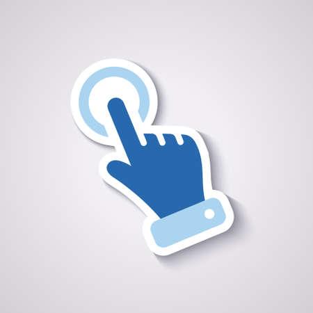 klik handje voor het bedrijfsleven, geïsoleerd op blauw